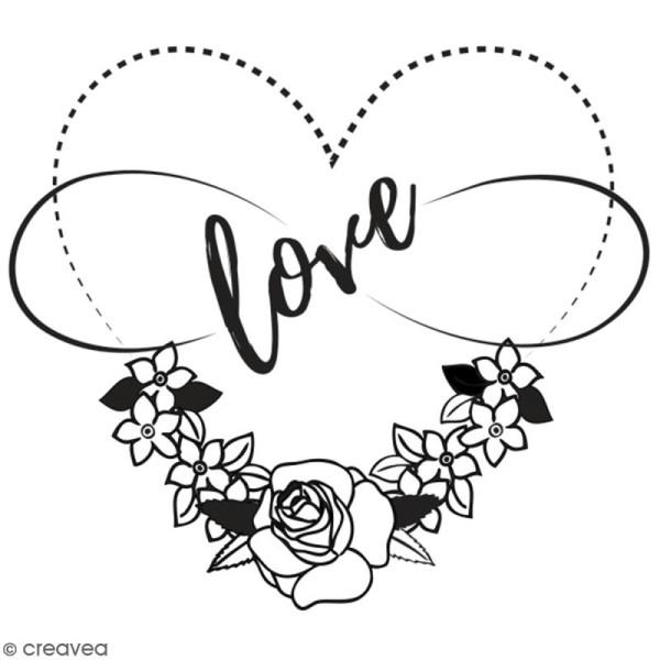 Tampon en bois Aladine - Coeur love - 6 x 6 cm - Photo n°1