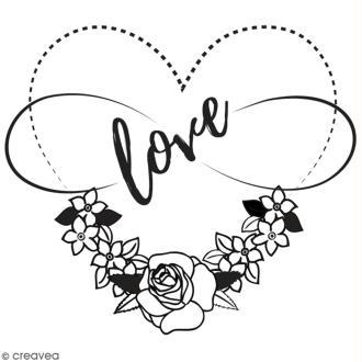 Tampon en bois Aladine - Coeur love - 6 x 6 cm