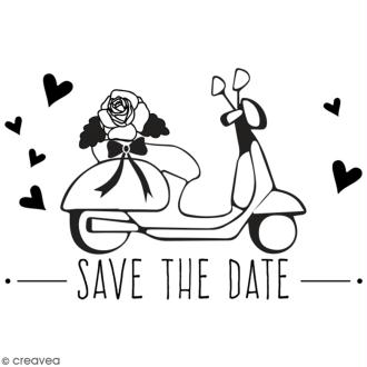 Tampon en bois Aladine - Scooter Save the date - 6 x 4 cm