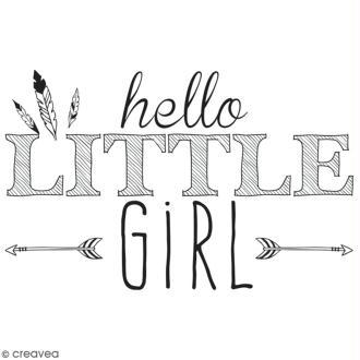 Tampon en bois Aladine - Hello little girl - 6 x 4 cm