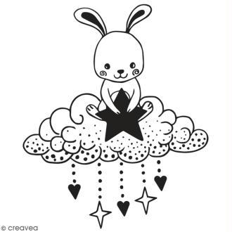 Tampon en bois Aladine - Lapin et nuage - 6 x 6 cm