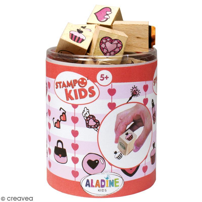 Kit de tampons Stampo kids - Coeurs - 16 pcs - Photo n°1