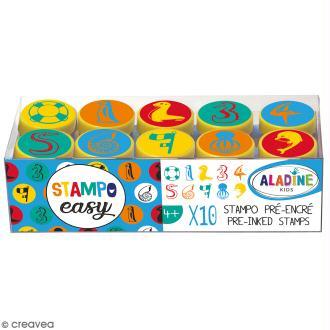 Kit de tampons enfant pré-encrés Stampo Easy - Chiffres - 10 pcs