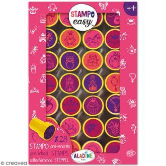 Kit de tampons enfant pré-encrés Stampo Easy - Princesse - 28 pcs