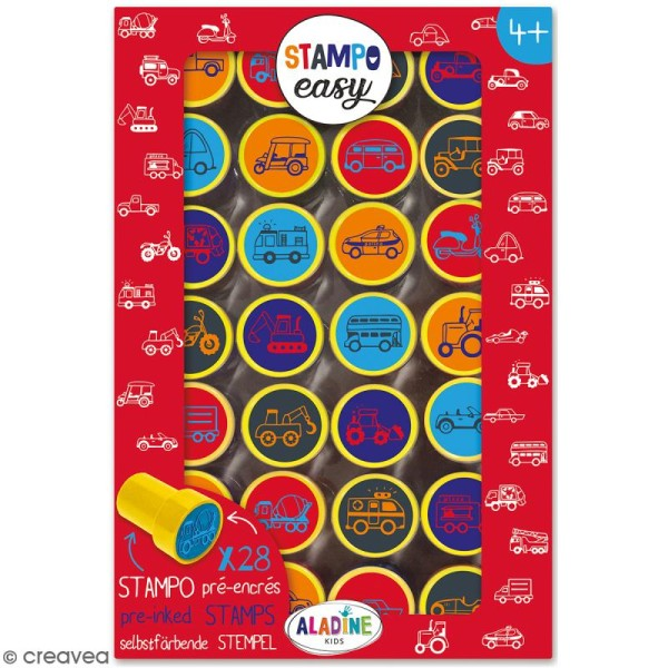 Kit de tampons enfant pré-encrés Stampo Easy - Voiture - 28 pcs - Photo n°1