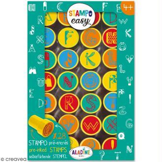 Kit de tampons enfant pré-encrés Stampo Easy - Alphabet - 28 pcs