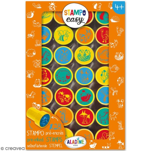 Kit de tampons enfant pré-encrés Stampo Easy - Animaux de la ferme - 28 pcs - Photo n°1