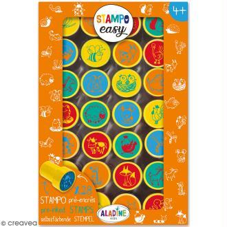 Kit de tampons enfant pré-encrés Stampo Easy - Animaux de la ferme - 28 pcs