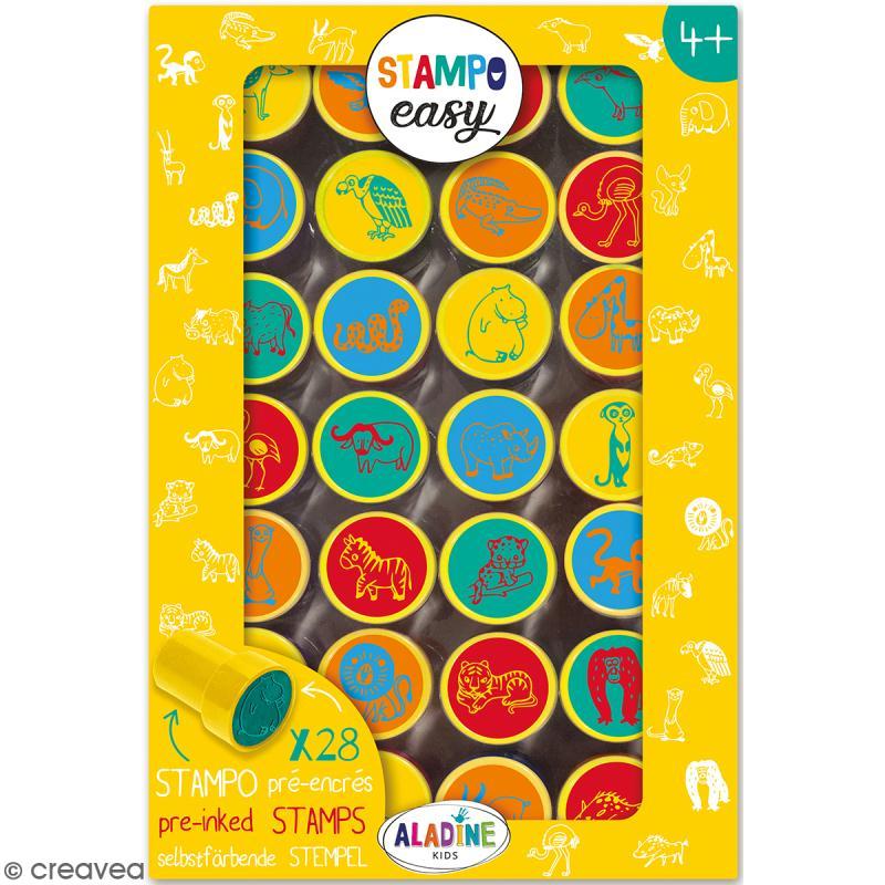 Kit de tampons enfant pré-encrés Stampo Easy - Animaux de la savane - 28 pcs - Photo n°1