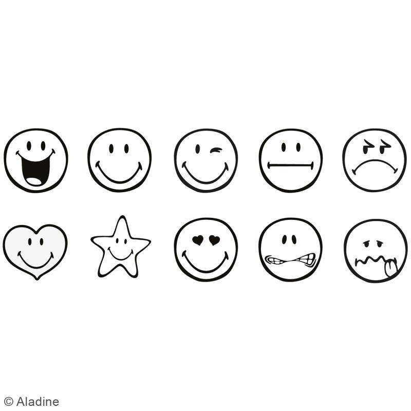 Kit de tampons enfant pré-encrés Stampo Easy - Smiley - 10 pcs - Photo n°2