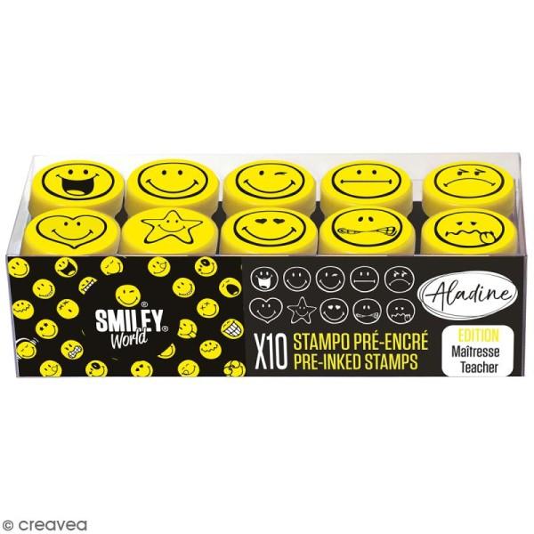 Kit de tampons enfant pré-encrés Stampo Easy - Smiley - 10 pcs - Photo n°1