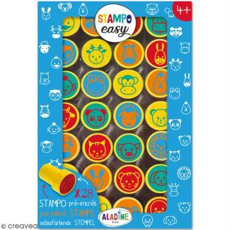 Kit de tampons enfant pré-encrés Stampo Easy - Têtes d'animaux - 28 pcs