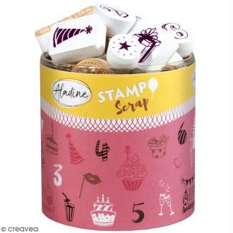 Kit de tampons Stampo Scrap - Joyeux anniversaire - 36 pcs
