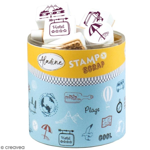 Kit de tampons Stampo Scrap - Voyage - 47 pcs - Photo n°1