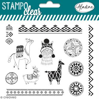 Tampon clear Aladine - Floride Tropical - Planche 15 x 12,5 cm - 13 Stampo'clear
