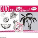 Set Tampon clear et pochoir Aladine - Jungle - 6 pcs