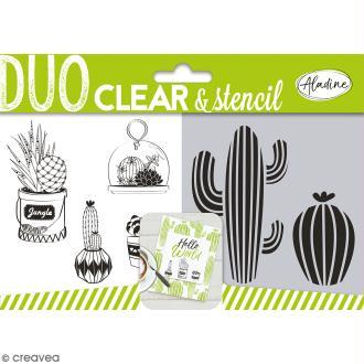 Set Tampon clear et pochoir Aladine - Cactus - 5 pcs