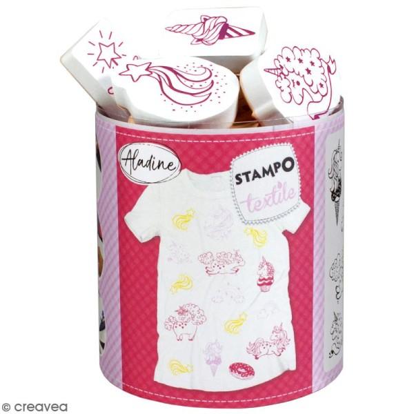 Stampo'textile - Kit tampon et encreur Izink - Licorne - 15 pcs - Photo n°1