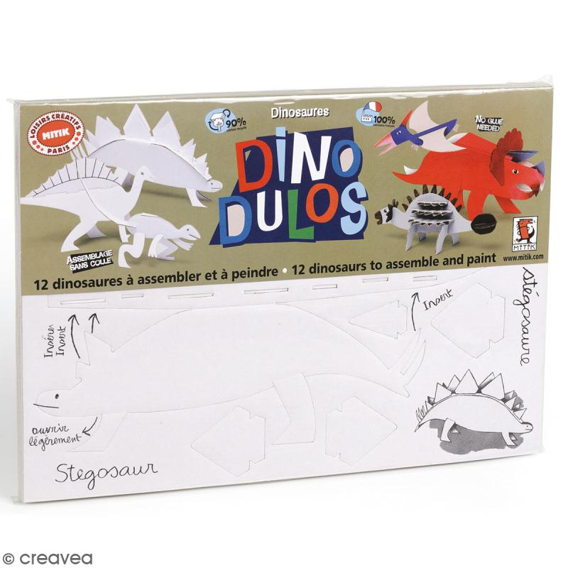 Dino'dulos Puzzle 3D en carton à monter et à décorer - Dinosaures - Photo n°1
