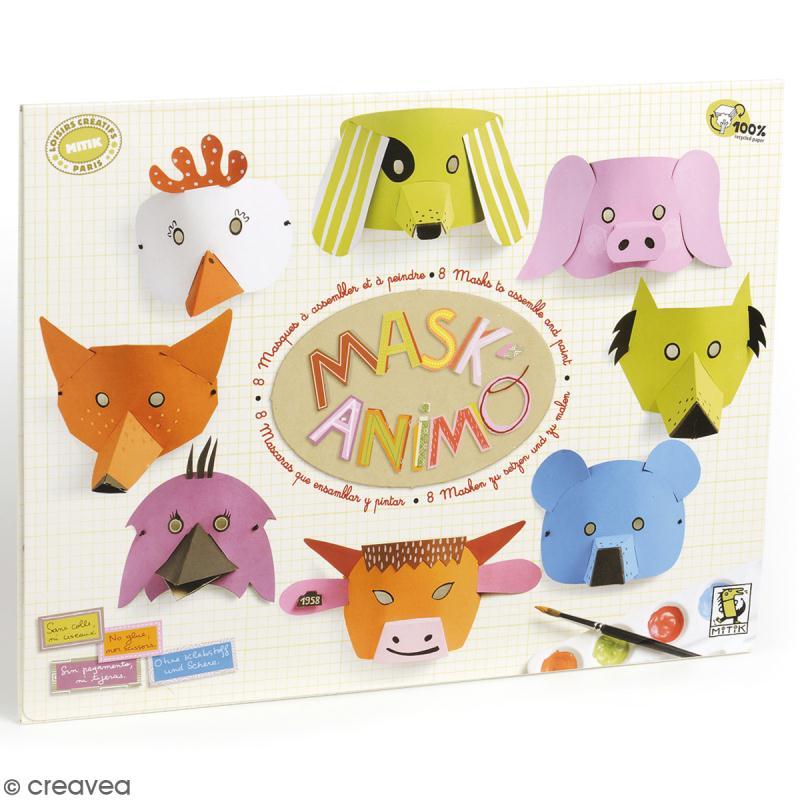Kit Mask'animaux - 8 masques à assembler et à décorer - Photo n°1