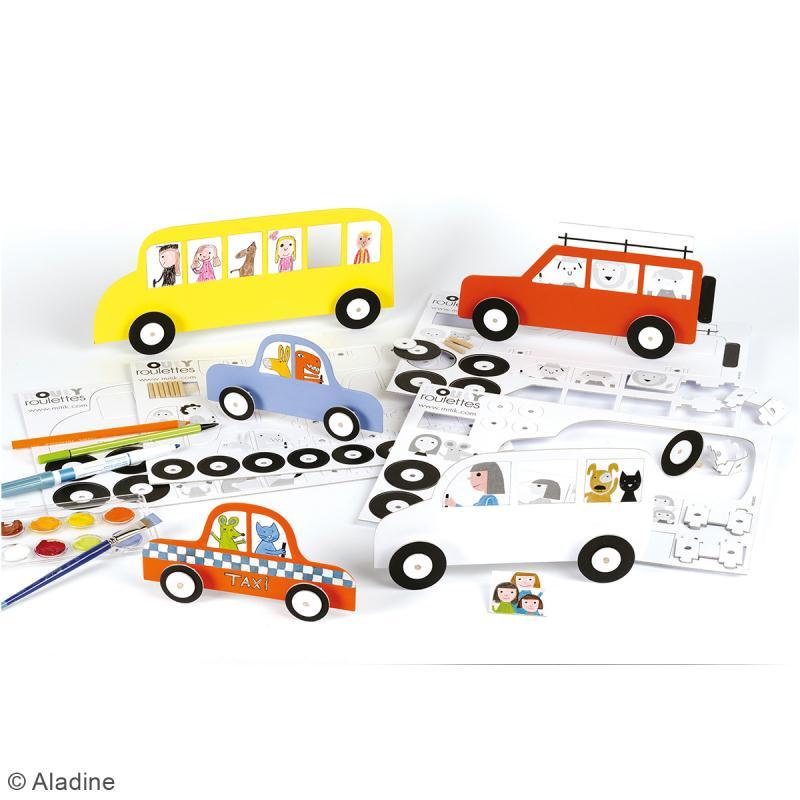 Kit Rouly roulettes - 5 véhicules à assembler et à décorer - Photo n°2