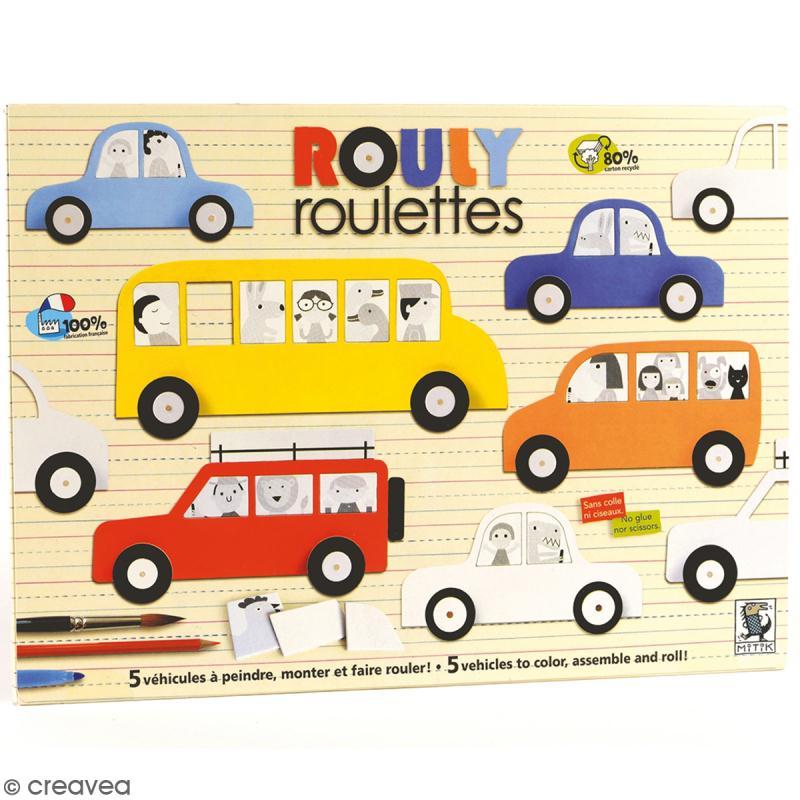 Kit Rouly roulettes - 5 véhicules à assembler et à décorer - Photo n°1