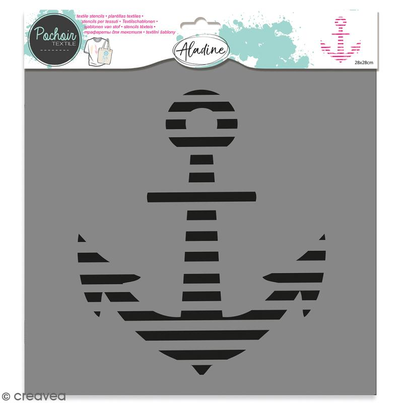 Pochoir textile Aladine - Encre marine - 28 x 28 cm - Photo n°1