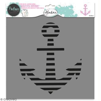 Pochoir textile Aladine - Encre marine - 28 x 28 cm