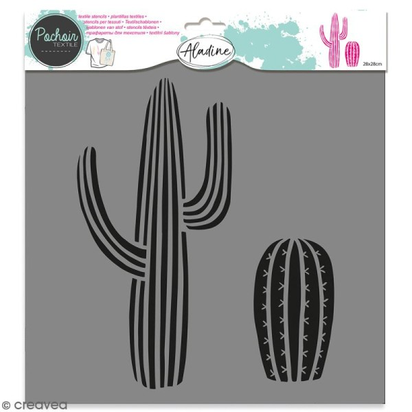 Pochoir textile Aladine - Cactus - 28 x 28 cm - Photo n°1