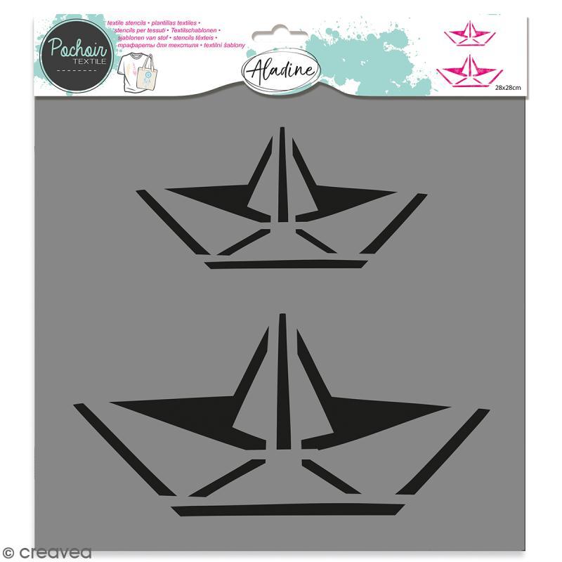 Pochoir textile Aladine - Bâteaux origami - 28 x 28 cm - Photo n°1
