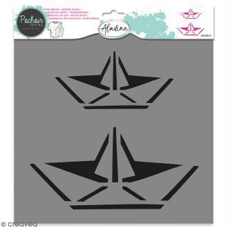 Pochoir textile Aladine - Bâteaux origami - 28 x 28 cm