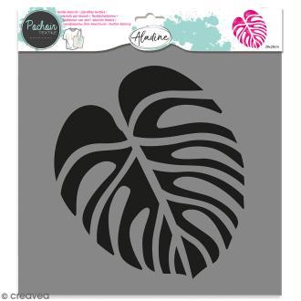 Pochoir textile Aladine - Feuille monstera - 28 x 28 cm