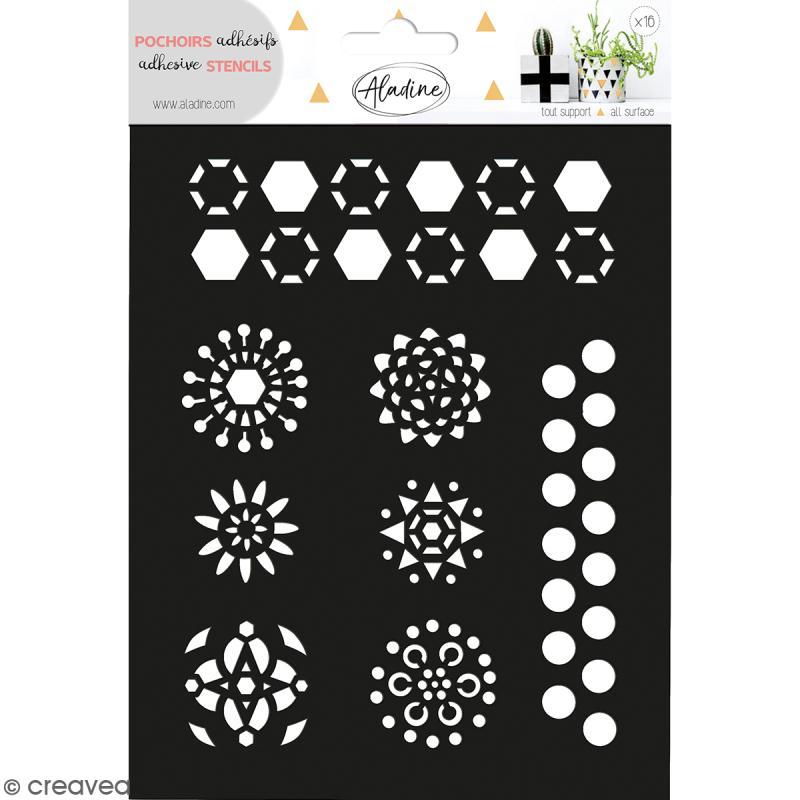 Pochoir adh sif aladine fleurs g om triques 14 x 18 5 for Adhesif geometrique