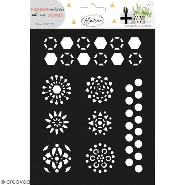 Pochoir adhésif Aladine - Fleurs géométriques - 14 x 18,5 cm - Photo n°1