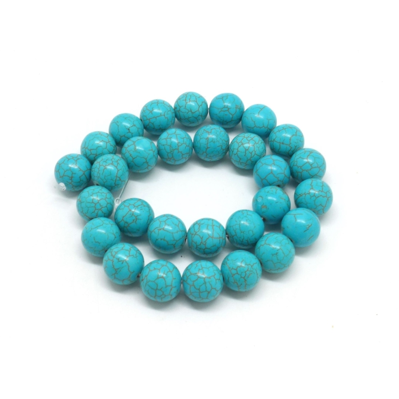 27 perles 14mm pierre naturelle imitation turquoise howlite couleur bleu turquoise perle. Black Bedroom Furniture Sets. Home Design Ideas