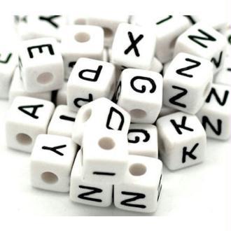 Perle alphabet noir/blanc en acrylique 10mm - Lettre Q