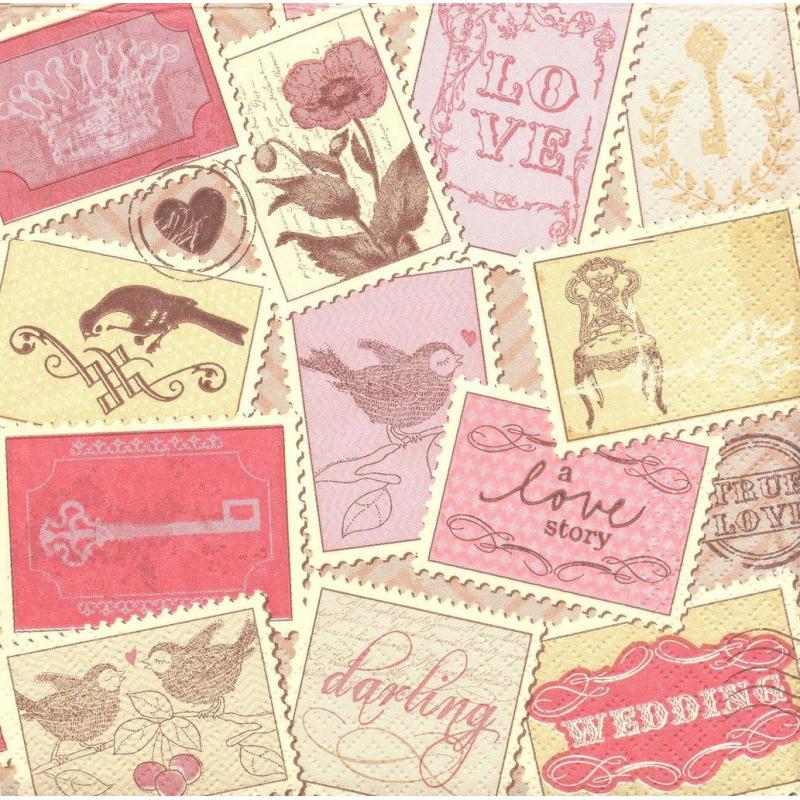 4 serviettes en papier amour timbres romantiques format for Timbre de cuisine