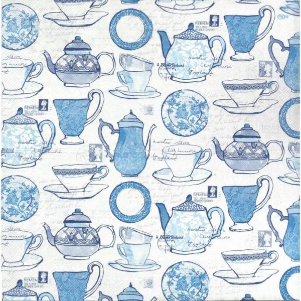 4 Serviettes en papier Service à thé Format Lunch - Photo n°2