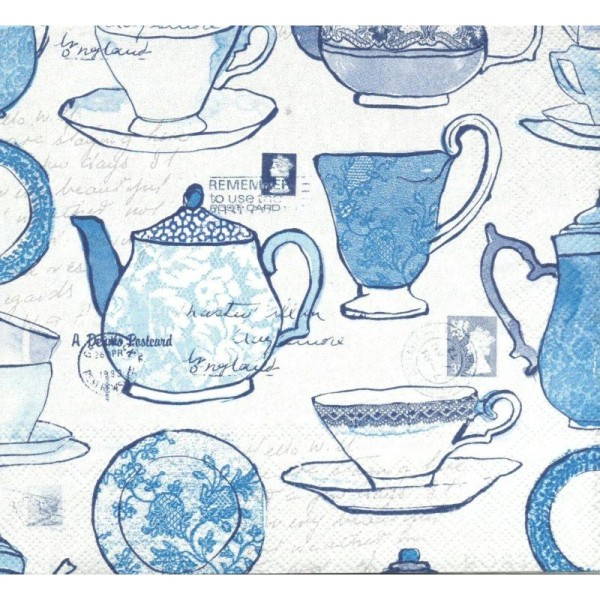 4 Serviettes en papier Service à thé Format Lunch - Photo n°1