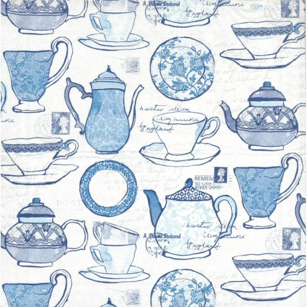 4 Serviettes en papier Service à thé Format Cocktail - Photo n°2