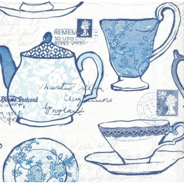 4 Serviettes en papier Service à thé Format Cocktail - Photo n°1
