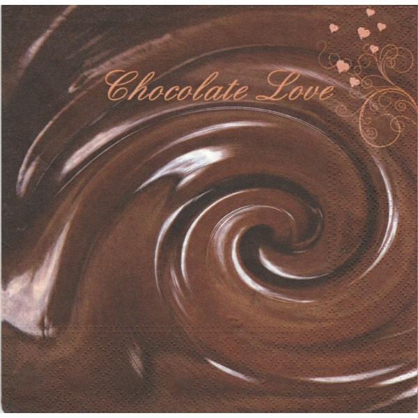 4 Serviettes en papier Chocolat Amour Format Lunch - Photo n°1
