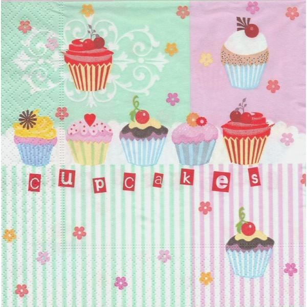 4 Serviettes en papier Pâtisserie Cupcake Gateau Format Lunch Decoupage Decopatch 21515 Paper+Design - Photo n°1