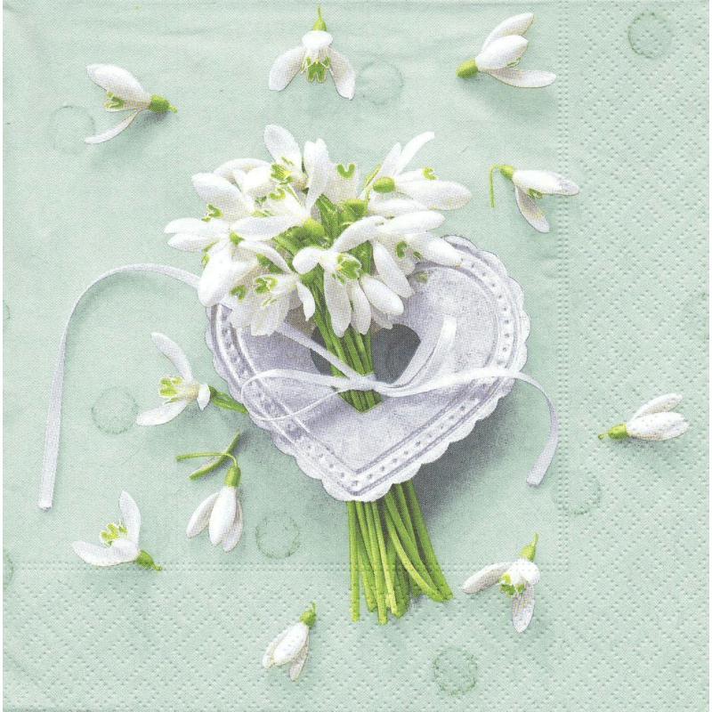 4 serviettes en papier fleur perce neiges coeur amour for Amour de cuisine basboussa