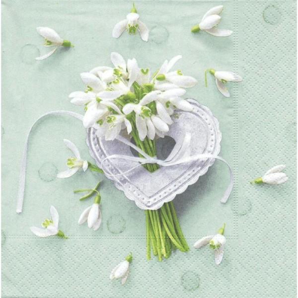 4 Serviettes en papier Fleur Perce-neiges Coeur Amour Format Lunch - Photo n°1