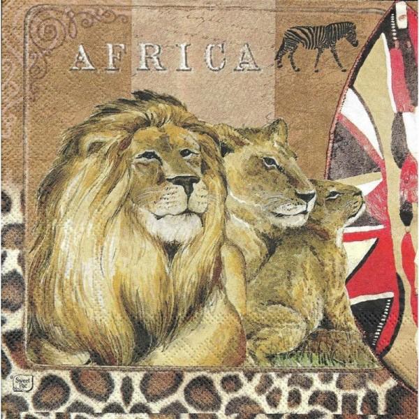 4 Serviettes en papier Afrique Lion Safari Format Lunch - Photo n°2