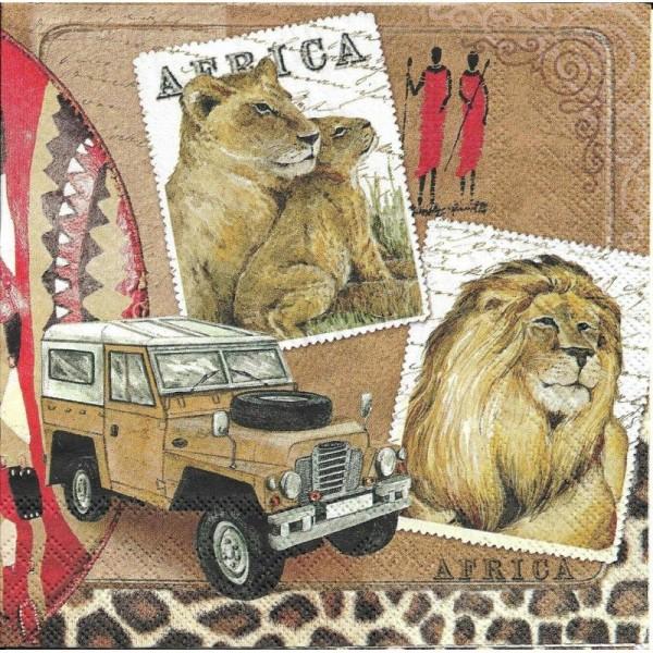 4 Serviettes en papier Afrique Lion Safari Format Lunch - Photo n°1