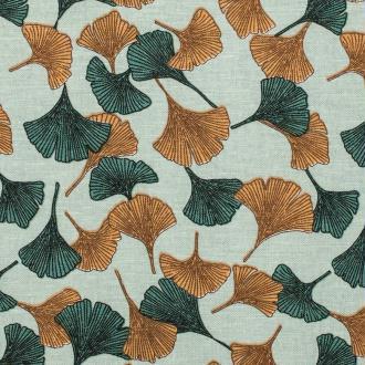 Tissu lin viscose feuilles ginkgo - Vert de gris, bleu & moutarde- Par 50cm