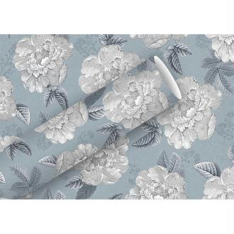 Papier cadeau Fleurs Vintage sur fond gris, largeur 70cm x Longueur 2 mètres, indéchirable, emballag