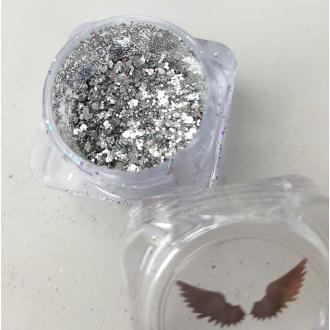 Bio Glitter ARGENT MIX paillettes cosmétique biodégradables